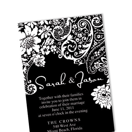Black and White Damask Wedding Invitation / DIY Custom Digital Template / Printable Card / No 30. $35.00, via Etsy.