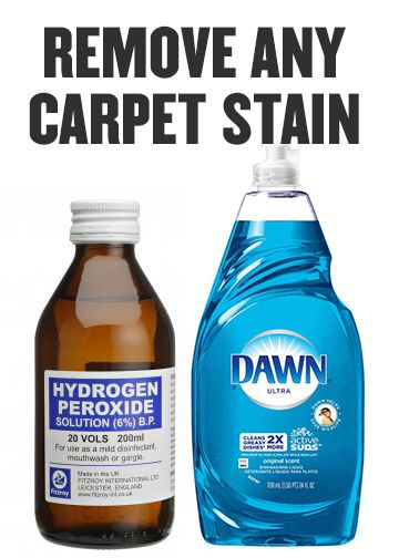 Life Cleaning Hack: Hydrogen Peroxide and Blue Dawn Dish Soap mixed together. Remove any carpet stain (and anything off a mattress as well).                                                                                                                                                      More