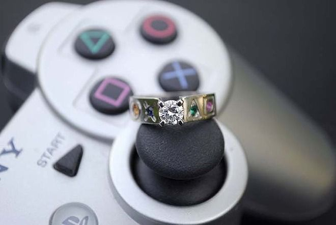 For Ultimate Gamer Girls looove!!!!!1  23 Adorkable Wedding Rings for Geeks in Love