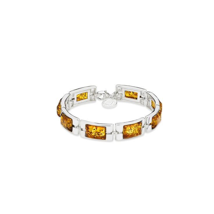House of Amber - Silver bracelet with cognac color amber