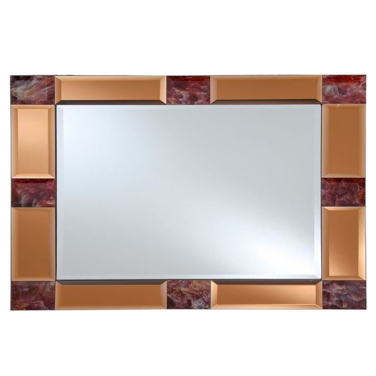 "Rectangular Beveled Frameless Wall Mirror with Mirrored Tinted Beveled Border and Marble Accents Copper (Brown) 16"" X 24"" - Breeze Point"