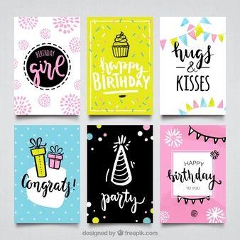 Colección de tarjetas feliz cumpleaños dibujadas a mano