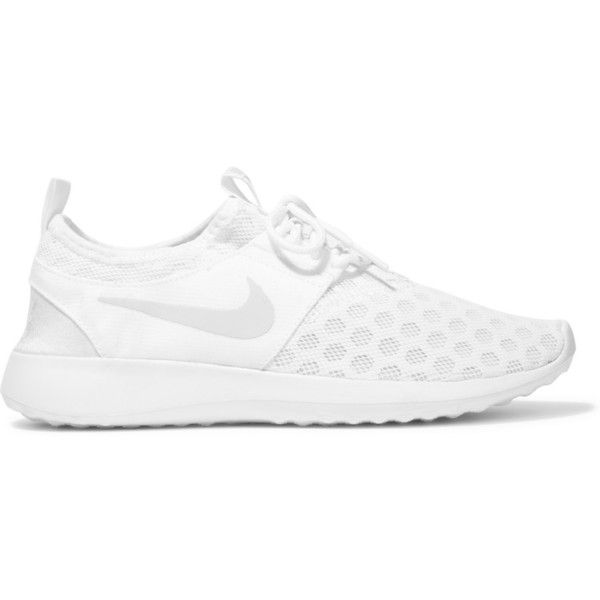 Nike Juvenate mesh sneakers ($100) ❤ liked on Polyvore featuring shoes, sneakers, white, lace up sneakers, white sneakers, slip on shoes, breathable sneakers and white shoes
