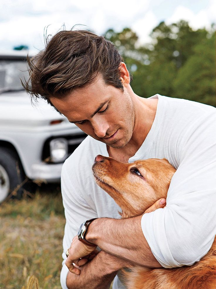 Ryan Reynolds & Baxter  Ryan Reynolds says it was love at first sight with his shelter pup Baxter.  He was there helping a friend pick out a dog, but when he saw Baxter in his kennel he knew they were meant to be.