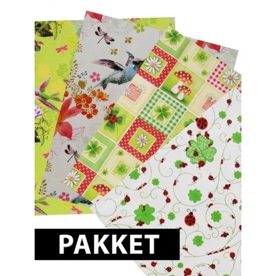 Cadeau inpakpapier met vrolijke print, 4 stuks. U ontvangt 4 rollen cadeaupapier met verschillende bloemen en dieren patronen. Het formaat per rol is: 200x70 cm.
