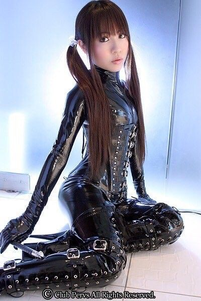 Asian Latex Catsuit Corset Gloves And Pvc Thigh Boots