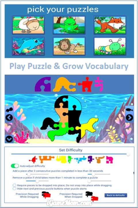 play puzzle games and grow vocabulary - fun animal puzzle app for kids
