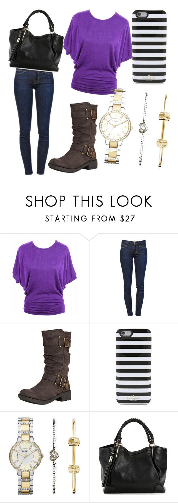 """""""casual"""" by filipaandreia88 ❤ liked on Polyvore featuring Frame, Rocket Dog, Kate Spade and FOSSIL"""