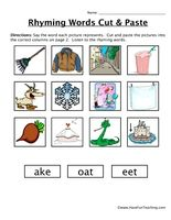 Rhyming Words Cut and Paste Worksheet - Have Fun Teaching