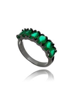 meia aliança esmeralda com rodio negro semi joias online