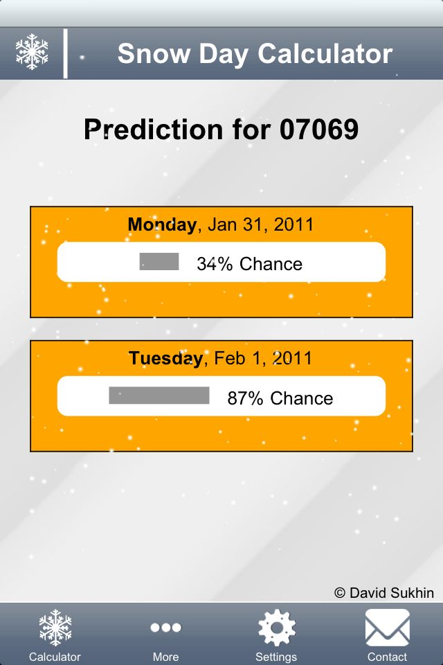 Snow Day Calculator..you enter your zip code, the type of school you work in and how many snow days you have had so far and it calculates you chances of a snow day.. genius!