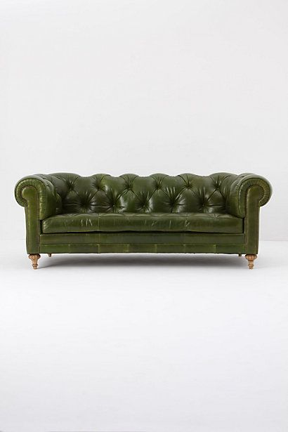 I love this Atelier Chesterfield, Bottle Green Leather Sofa from Anthropologie. It was gorgeous and comfy in store!