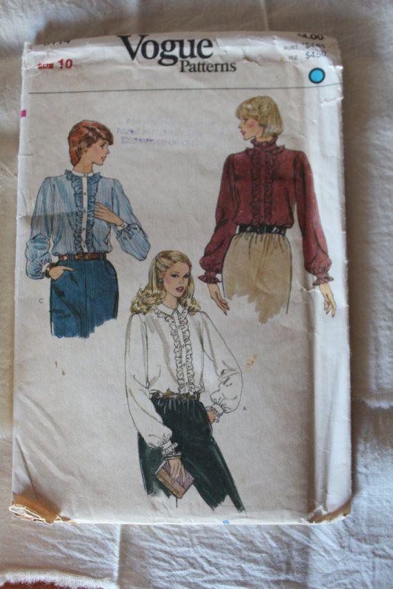 Vintage Vogue Sewing Pattern 8114 Misses Blouse Size 10  Brand: Vogue