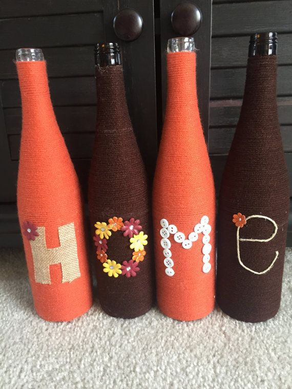 Yarn wrapped bottles wrapped bottles fall by HomeEcQueen on Etsy