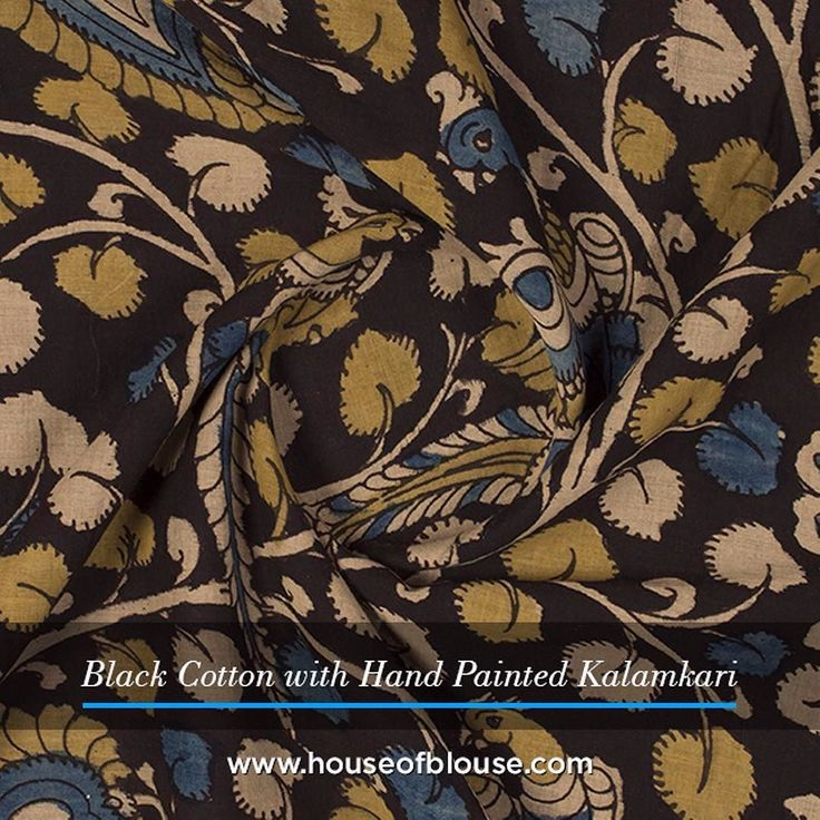 Fabriclove A black hand painted Kalamkari cotton for all those summer evening soirees. Go ahead...customise some trendy summertime blouses using our hand picked cotton Kalamkari fabrics. #houseofblousedotcom #fabriclove #cotton #black #mustard #blue #Kalamkari #summer # soiree #coolcomfort #fun #blouse