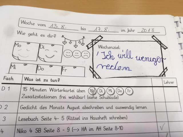 Wochplantagebuch Wochenplan Beispiel Schulerarbeit Planer Tagebuch Grundschule Blog Wochen Planer