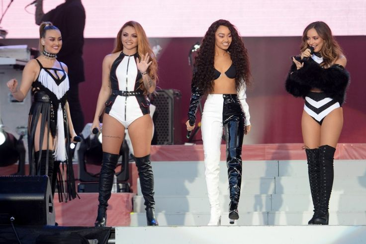 (L-R) Perrie Edwards, Jesy Nelson, Leigh-Anne Pinnock and Jade Thirlwall of Little Mix perform on stage at the 'One Love Manchester' benefit concert on June 4, 2017, in Manchester, England.