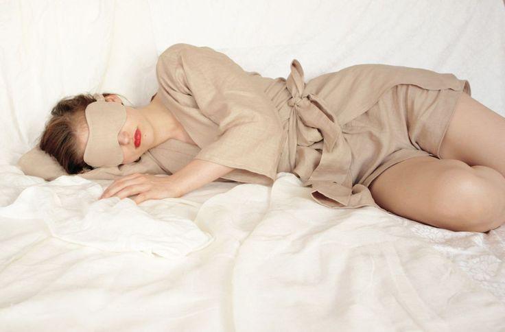 Nachtwäsche - Satz - Robe, Shorts und Schlafmaske - ein Designerstück von collectionwndesign bei DaWanda