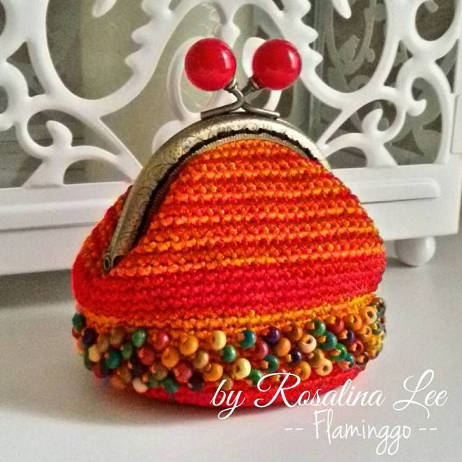 Crochet Gamaguchi Flamingo Coin Purse