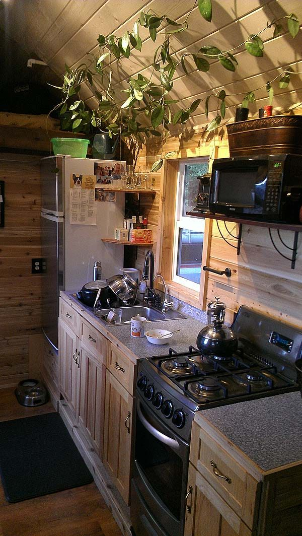 Kitchen in tiny house I like the plant and the medium size fridge, makes a big difference.