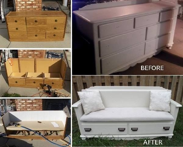 Refurbished old dresser-drawers, now a bench with storage!
