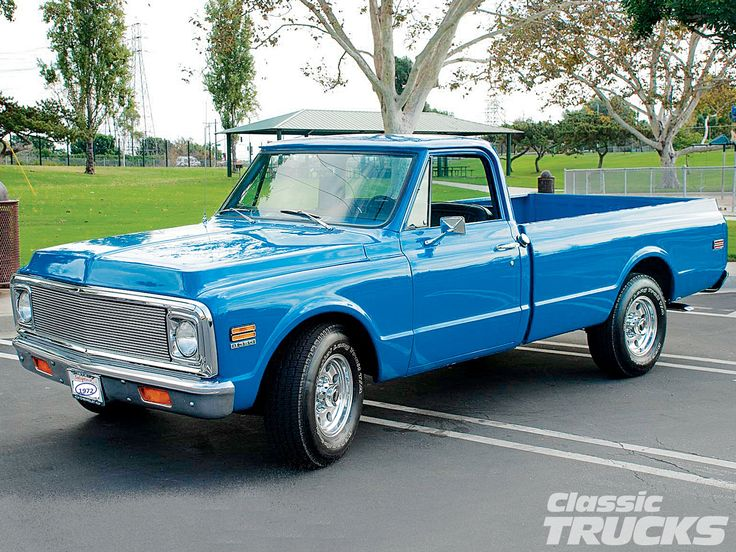 A 1971 Chevy C20 in medium blue. Really nice.