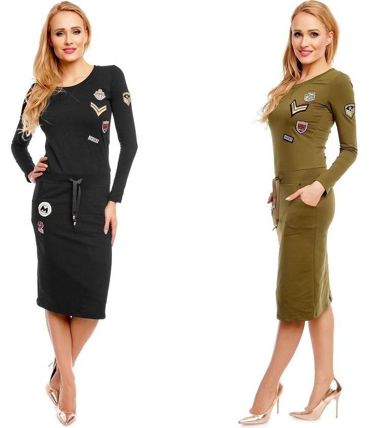 Stylisches Damen #Langarm #Kleid im #Military Look und zahlreichen #Patches für einen lässigen #Casual Look. #Aufnäher #Badges #Fashion #Mode