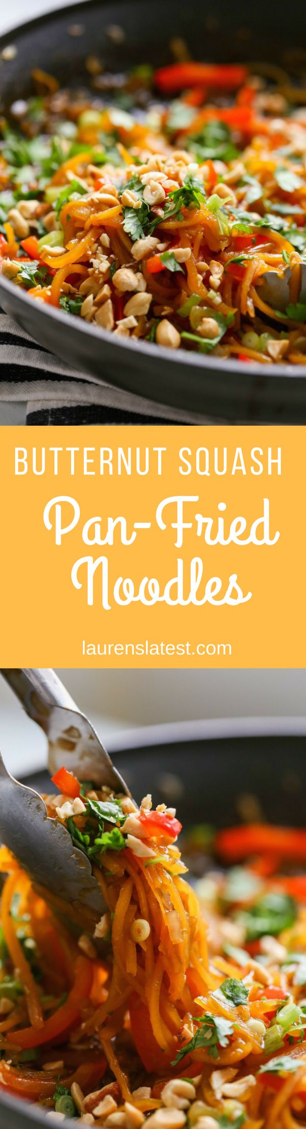 Sesame Butternut Squash Pan-Fried Noodles...A super-simple, extremely healthy (and tasty!) meal made with butternut squash noodles, onion, garlic, ginger and sesame oil. Ready to eat in 10 minutes!!