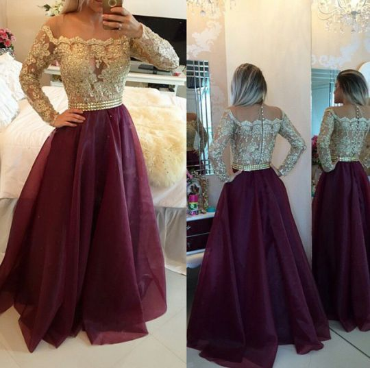 L139 Off-Shoulder Long Sleeves Lace Bodice And Burgundy Organza Skirt Evening Party Dress Prom Gown