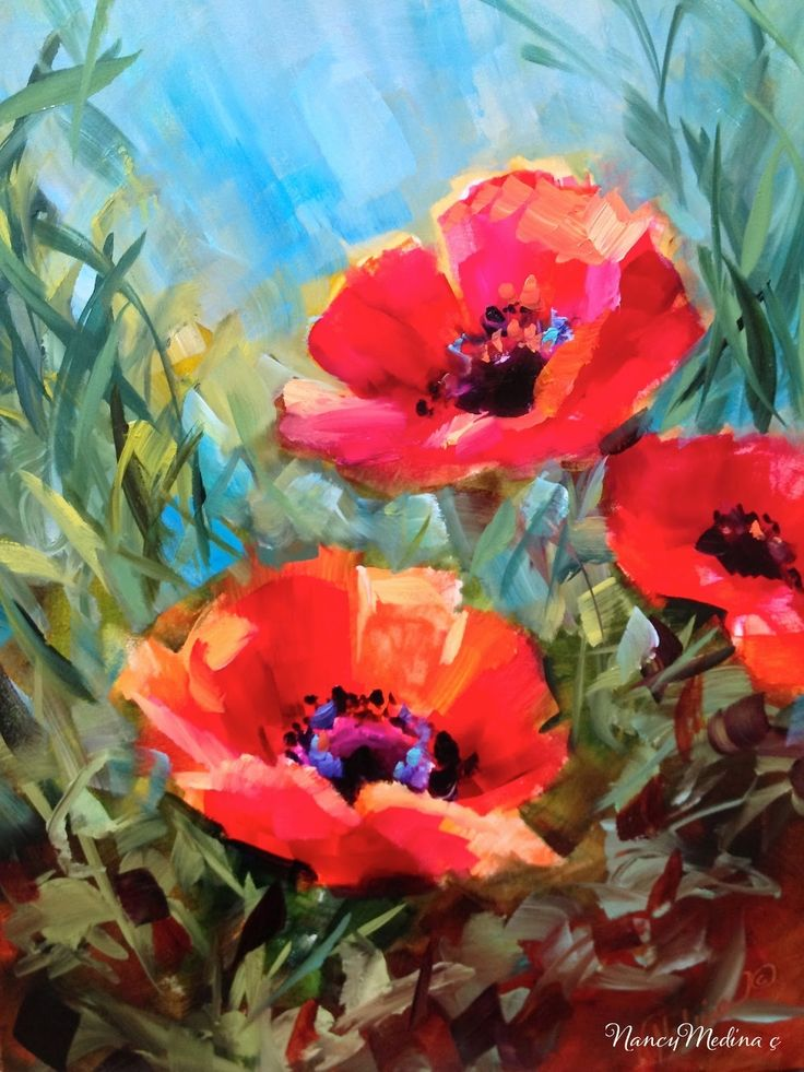 173 best poppies images on pinterest poppies paint and for Floral acrylic paintings