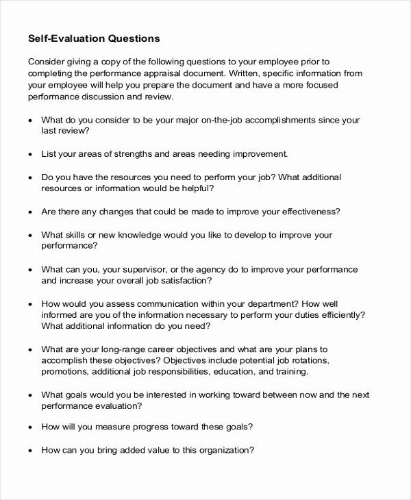 Employee Self Assessment Template Luxury Sample Employee Self Evaluation Form 8 Free Documents Evaluation Employee Self Assessment Examples Self Assessment