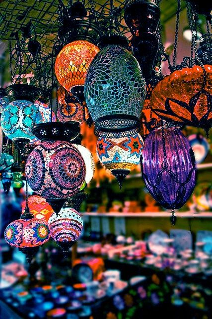 colorful glass pieces such as these Moroccan lanterns ...shiny!!