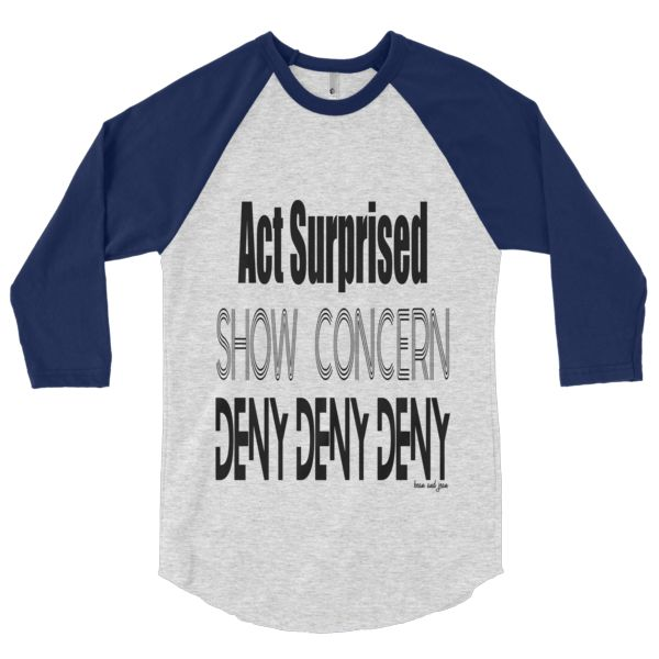 Deny Deny Deny Raglan #beanandjean  A stylish spin on the classic baseball raglan. The combed cotton blend makes it super soft, comfortable, and lightweight. Made in the USA, sweatshop free