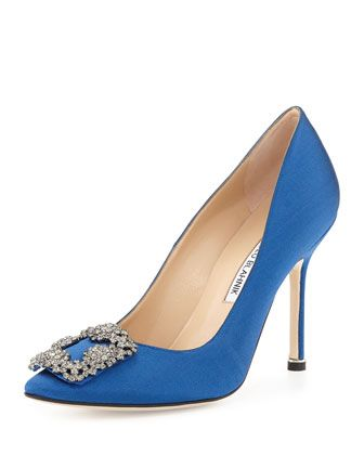 The iconic SATC shoe - Hangisi Satin Pump, Cobalt Blue by Manolo Blahnik at Neiman Marcus.