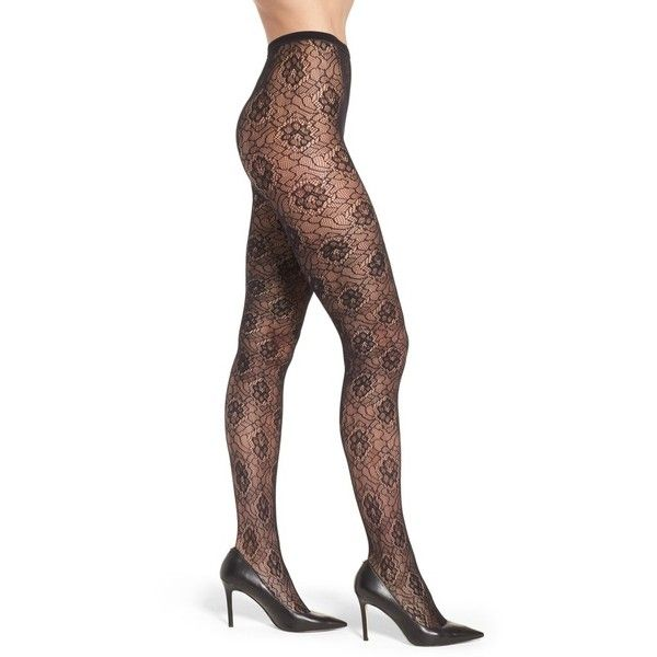 Women's Nordstrom Large Rose Tights ($19) ❤ liked on Polyvore featuring intimates, hosiery, tights, black, nordstrom pantyhose, nordstrom hosiery, rose tights, floral print tights and floral tights