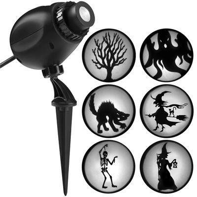Gemmy Silhouette Projection Multi-Function White Led Multi-Design Halloween Outdoor Stake Light Projector