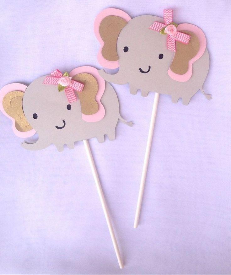 Elephant centerpiece stick, elephant theme, Baby shower, Its a girl  4 stick  #Handmade #BirthdayCHILDBabyshower