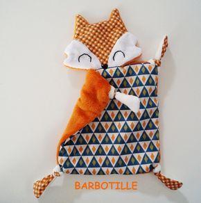 doudou renard, doudou plat minky - motifs géométriques : Jeux, peluches, doudous par barbotille