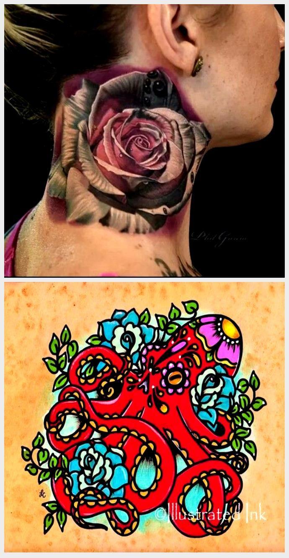 Awsome Rose Tattoo Neck Tattoo Color Tattoo Tattoo Ideas