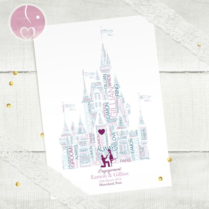 Personalised Disney Word Art Engagement Gift |  Magic Kingdom Disney Land Castle Personalised Gift For Couple | Disney Land Paris by ElephantLoveUk on Etsy https://www.etsy.com/listing/242903503/personalised-disney-word-art-engagement