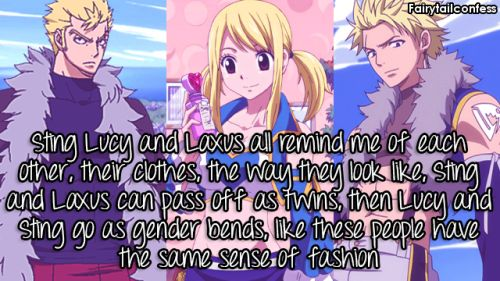 Sting Fairy Tail Confessions | look like, Sting and Laxus can pass off as twins, then Lucy and Sting ...