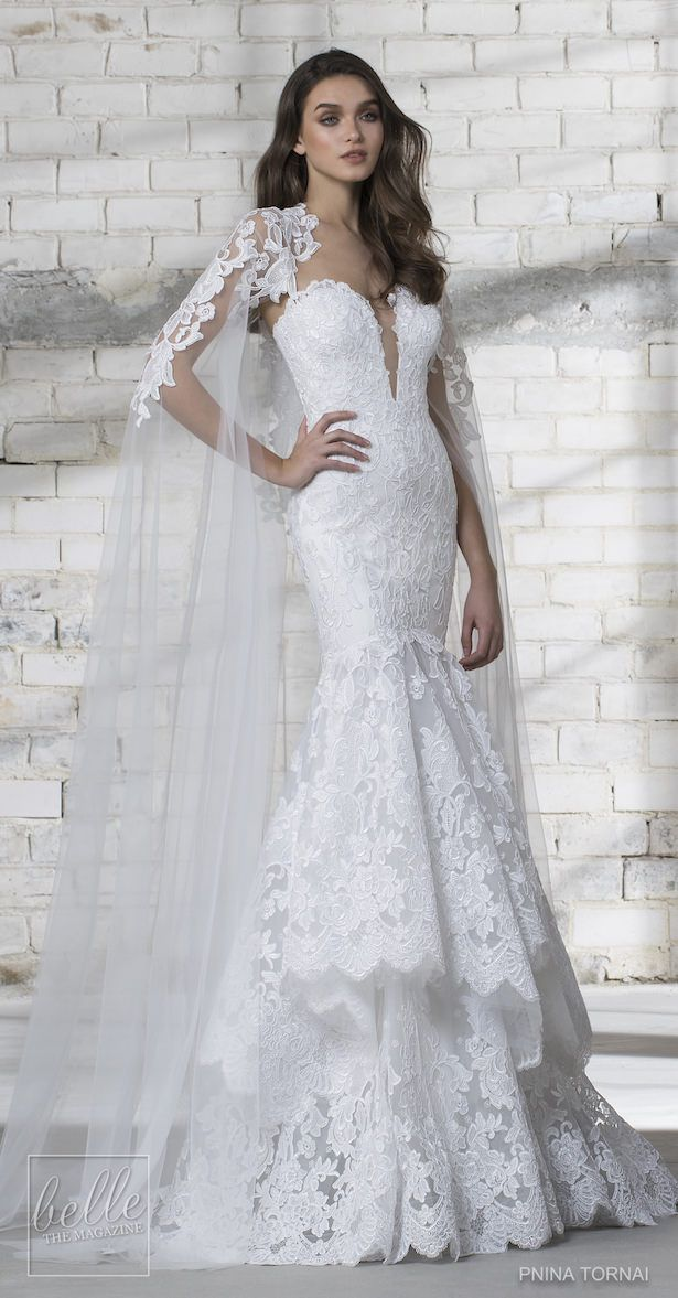 6f37cb2c8c7c Love by Pnina Tornai for Kleinfeld Wedding Dress Collection 2019 | Lace  mermaid wedding dress with layered skirt and sweetheart neckline | Sexy  romantic ...