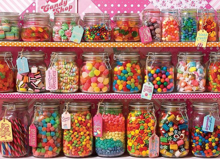 Rodinné puzzle COBBLE HILL 54601 Police se sladkostmi 350 dílků