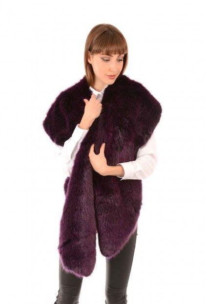 Faux Fur Purple Jayley Scarf | Faux Fur Wraps