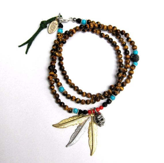 Navajo inspired tiger eye beads coral onyx skulls & by lorgjewels, $170.00