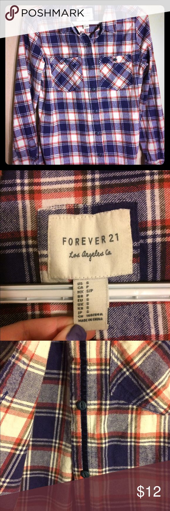 Size Small Forever 21 fleece plaid shirt. Forever 21 plaid fleece shirt; barley worn. Forever 21 Tops Tunics