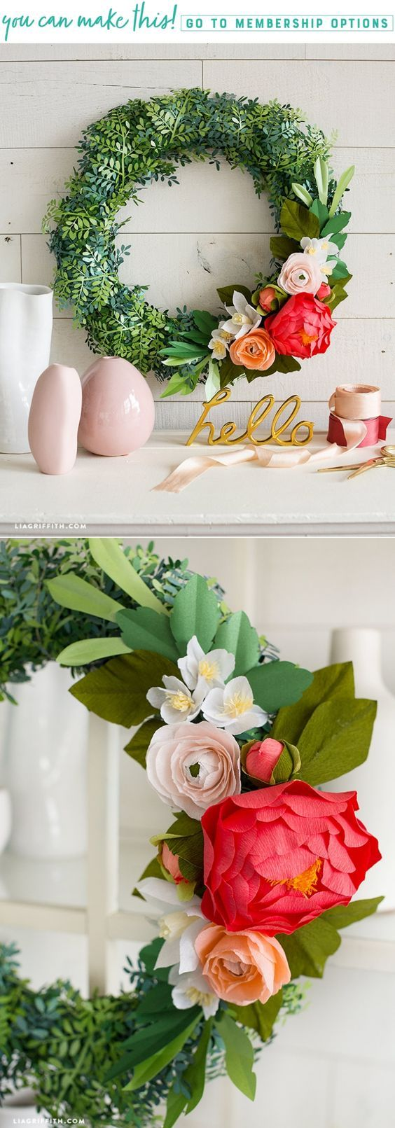 Create a bright and beautiful boxwood wreath for spring! - Lia Griffith - www.liagriffith.com #paper #paperart #paperlove #wreath #wreaths #diydecor #diyhome #spring #crepepaper #crepepaperrevival #crepepaperflowers #madewithlia