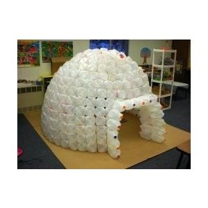 Milk carton igloo...as much milk as avett drinks I think we could make this