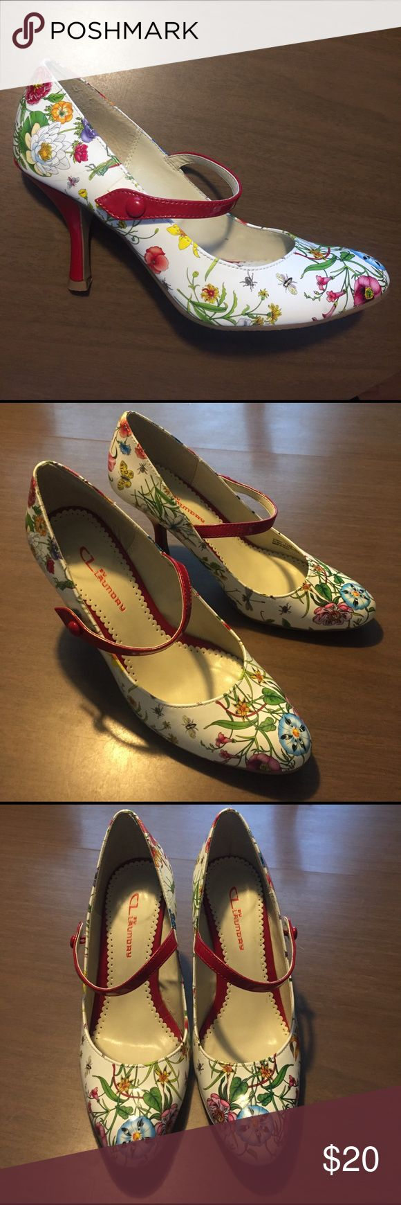 CL Laundry shoes White with floral print high heel shoes with red foot strap and heel. Size 7.5, great used condition! Chinese Laundry Shoes Heels