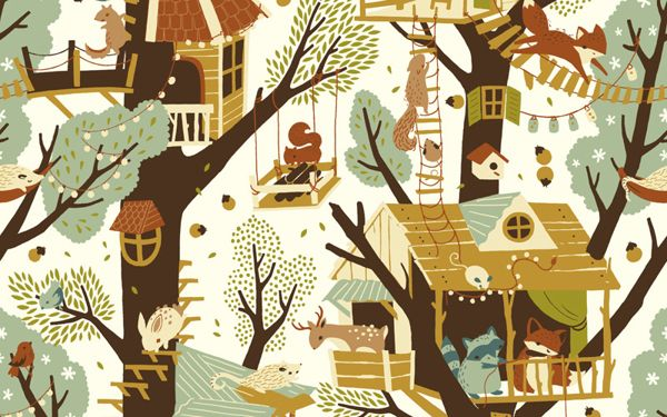 Fort Firefly Fabric Collection by Teagan White, via Behance  For window valance.  Maybe a patchwork valance